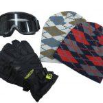 Ski gloves, Knit cap, Goggles set